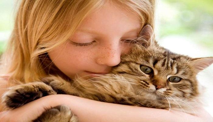 una niña con su felino, sin duda una demostración de afecto.